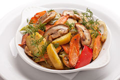 Roast vegetables with mushrooms. Royalty Free Stock Photography