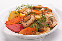 Roast vegetables with mushrooms. Royalty Free Stock Photo