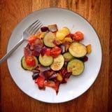 Roast vegetables on plate Stock Image