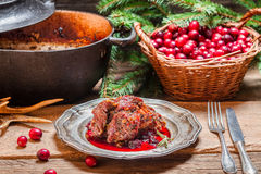 Roast venison with cranberry sauce Stock Photography