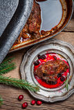 Roast venison with cranberry sauce in the woods Royalty Free Stock Photo