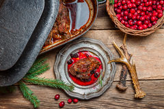 Roast venison straight from the hunt with cranberry sauce Stock Image