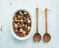 Roast young potato salad with radish and soft Royalty Free Stock Photos