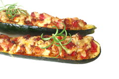 Roast zucchini with meat stuffing Royalty Free Stock Photo