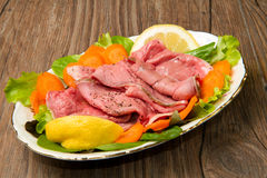 Roastbeef with salad Stock Images