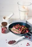 Roastbeef with seasoned beetroot and cranberries Royalty Free Stock Photography