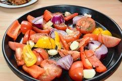 Roasted混合了菜,可口素食膳食 图库摄影
