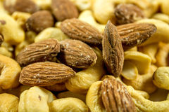 Roasted almonds and cashew Stock Image