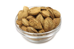 Roasted almonds in a glass Stock Images