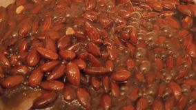 Roasted almonds stock video