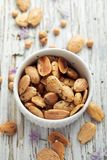 Roasted almonds with rosemary and sea salt, top view Stock Image
