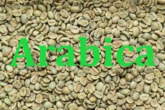 Arabica coffee beans, background. Roasted Arabica coffee beans texture, background, with written word Arabica Stock Images