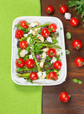 Roasted Asparagus and Cherry Tomatoes Stock Photos