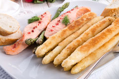 Roasted asparagus with salmon fillet Stock Photo