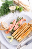 Roasted asparagus with salmon fillet Royalty Free Stock Photos