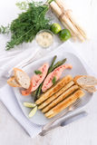 Roasted asparagus with salmon fillet Royalty Free Stock Photography