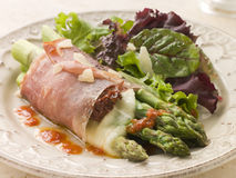 Roasted Asparagus spears with Mozzarella Cheese. Plate of Roasted Asparagus spears with Mozzarella Cheese and Sun Dried Tomatoes wrapped in Prosciutto royalty free stock images