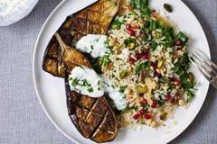 Roasted aubergine with jeweled rice. Roast aubergine with Persian jeweled rice Royalty Free Stock Photography