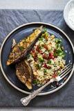 Roasted aubergine with jeweled rice. Roast aubergine with Persian jeweled rice Stock Photos