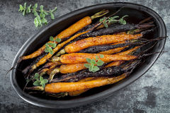 Roasted Baby Carrots Horizontal Overhead View Royalty Free Stock Photography