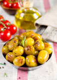 Roasted baby potatoes with rosemary Stock Image
