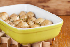 Roasted baby potatoes with thyme. Olive oil and salt on baking sheet Royalty Free Stock Photography