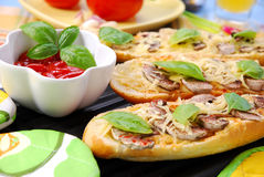 Roasted baguette with cheese and mushrooms Stock Images