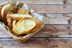 Roasted baguette slices in a basket​​ Stock Photo