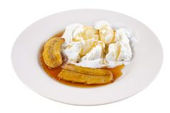 Roasted banana with ice cream Stock Photos