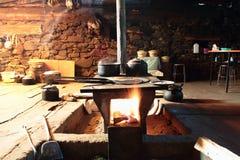 Roasted barley cake scene. China Tibetan home baked barley bread scene Stock Photos