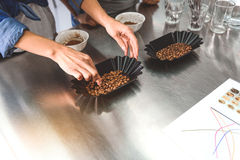 Roasted beans in black plates Royalty Free Stock Photo