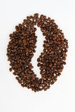 Roasted beans gathered in a shape of coffee Stock Image
