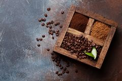 Roasted and powder coffee royalty free stock photo