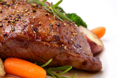 Roasted Beef. Loin tri-tip, garnished with vegetables Stock Image