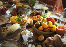 Roasted Beef Food Thanksgiving Table Setting Concept Royalty Free Stock Photos
