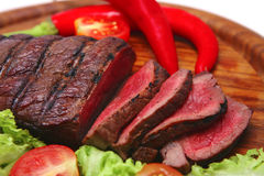 Roasted beef meat steak and vegetables stock photography