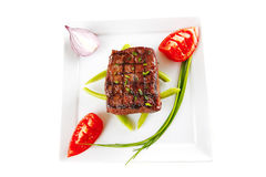 Roasted beef served on white Stock Photography