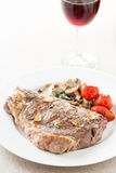 Roasted beef steak with fried vegetables Royalty Free Stock Image