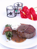 Roasted beefsteak. With pepper sauce and asparagus royalty free stock images