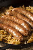 Roasted Beer Bratwurst with Saurkraut Stock Image