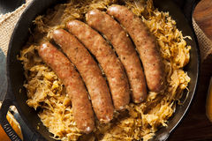 Roasted Beer Bratwurst with Saurkraut Royalty Free Stock Image