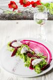Roasted Beet Salad with Feta and Celery. Appetizer Recipe. royalty free stock image
