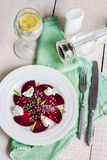 Roasted beet salad with goat cheese and sesame seeds, vegetarian Stock Images