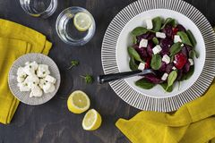 Beetroot, feta and spinach salad. Roasted Beetroot, feta and spinach salad, homemade healthy food stock photo
