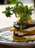 Roasted beets with burrata. And balsamic royalty free stock image