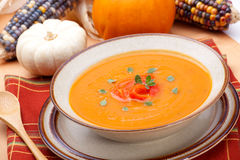 Roasted Bell Pepper Pumpkin Soup Stock Images