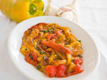 Roasted Bell Pepper Salad. Stock Photo