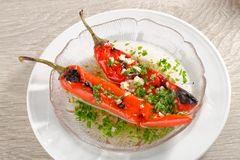 Roasted bell pepper salad with garlic Stock Images