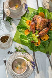 Roasted big turkey for thanksgiving Royalty Free Stock Photos