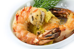 Roasted black tiger shrimps with garlic cream and dill garnish, Royalty Free Stock Photos